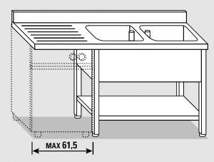 EUG1457-20 lavatoio per lavast.su gambe ECO cm 200x70x85h 2v sg sx - ripiano inferiore