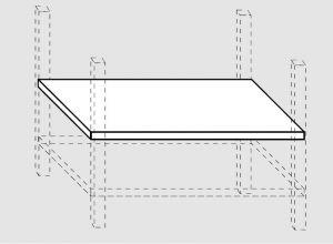 EUG2017-17 ripiano intermedio tavoli su gambe ECO cm 170x70