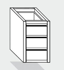 EUG2090-46 cassettiera ECO e40 con 3 cassetti cm 40x60x59hsotto tavolo guide inox semplici