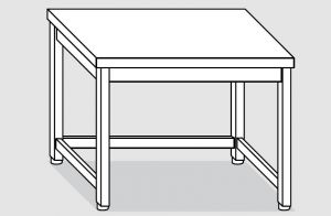 EUG2206-08 tavolo su gambe ECO cm 80x60x85h-piano liscio - telaio inferiore su 3 lati