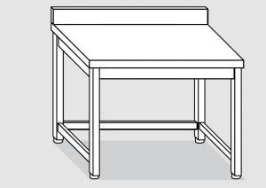 EUG2218-14 tavolo su gambe ECO cm 140x80x85h-piano con alzatina - telaio inferiore su 3 lati