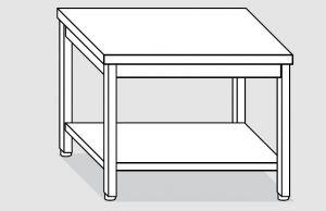 EUG2307-14 tavolo su gambe ECO cm 140x70x85h-piano liscio - ripiano inferiore