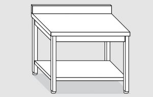 EUG2316-20 tavolo su gambe ECO cm 200x60x85h-piano con alzatina - ripiano inferiore