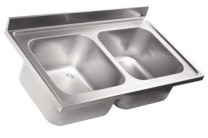 LV6006 Top lavello in acciaio inox AISI 304 dim.1000X600 2 vasche