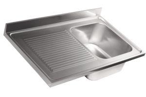 LV6008 Top lavello in acciaio inox AISI 304 dim.1000X600 1 vasca 1 sgocciolatoio SX