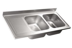 LV6034 Top lavello in acciaio inox AISI 304 dim.1800X600 2 vasche 1 sgocciolatoio SXL