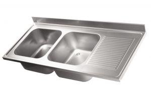 LV6035 Top lavello in acciaio inox AISI 304 dim.1900X600 2 vasche 1 sgocciolatoio DXL