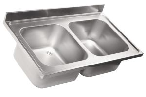 LV7007 Top 304 stainless steel sink dim.1000X700 2 bowls