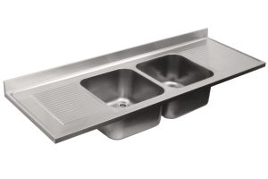 LV7063 Top lavello in acciaio inox AISI 304 dim.2200X700 2 vasche 2 sgocciolatoi