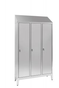 IN-694.00 Aisi 304 Stainless Steel Dressing Room With Dirty / Clean Partition With 3 Seats Cm. 120X40X215H
