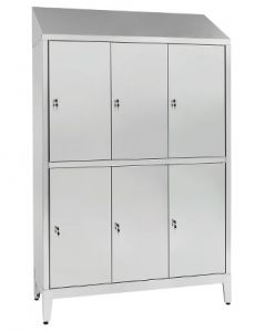 IN-S50.694.10 Multi-storey cupboard in AISI 304 stainless steel 6 places with 6 overlapping doors Cm. 120X50X215H