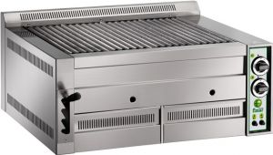 B80 Gas lava rock grill opaque enamel cast iron cooking grill double