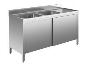 EU01611-19 lavatoio armadio ECO cm 190x60x85h  2 vasche e sg dx - porte scorrevoli