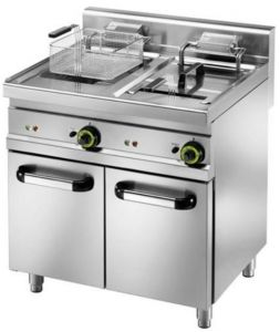 SFM18D Electric fryer 18+18 liters double basins on cabinet 11,5+11,5 kW three-phase big capacity