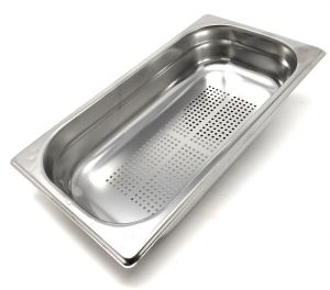 GST1 / 3P100F Gastronorm container 1/3 h100 drilled in stainless steel AISI 304