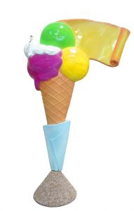 EG011A Ice cream with parchment - 3D advertising cone for ice-cream parlor, height 150 cm