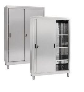 IN-690.15.50 Wardrobe with 2 Sliding Doors - Inox 304 - dim 150 x 50 x 200 H