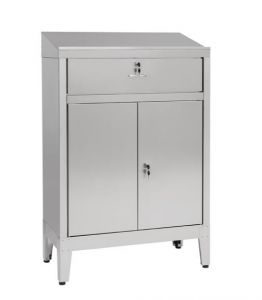IN-699.02.430C Cabinet desk with 2 doors with drawer in AISI 430 - dim. 80x40x115H