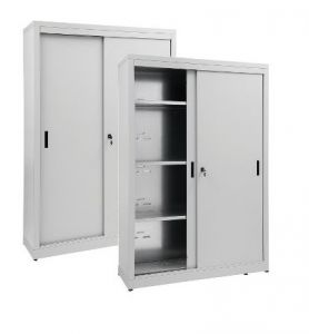 IN-Z.690.16.60 Storage Cabinet with Sliding Doors zinc plated 160x60x180 H