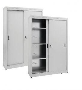 IN-Z.690.20.60 Storage Cabinet with Sliding Doors plasticized zinc 200x60x180 H