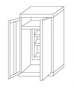 IN-Z.696.03.50  - 2door zinc-plated plastic Sliding Door Wardrobe - 100x50x200 H