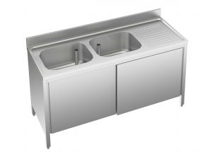 EU01711-16 lavatoio armadio ECO cm 160x70x85h  2 vasche e sg dx - porte scorrevoli