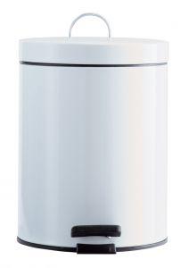 T101051 Pattumiera metallo bianco a pedale 5 litri (confezione da 6 pezzi)