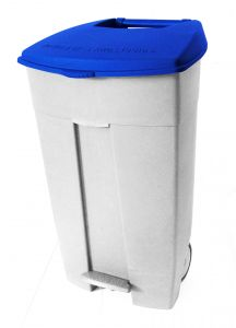 T102035 Mobile plastic pedal bin White Blue 120 liters (Pack of 3 pieces)