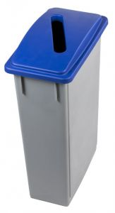 T102205 Grey Polypropylene waste bin with blue upper opening lid 90 liters