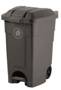 T102531 Mobile plastic pedal bin Grey 70 liters
