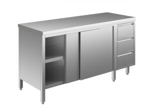 EU04101-19 tavolo armadio ECO cm 190x70x85h  piano liscio - porte scorr - cass 3c dx