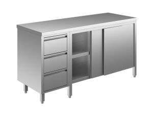 EU04102-14 tavolo armadio ECO cm 140x70x85h  piano liscio - porte scorr - cass 3c sx