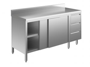 EU04103-22 tavolo armadio ECO cm 220x70x85h  piano alzatina - porte scorr - cass 3c dx