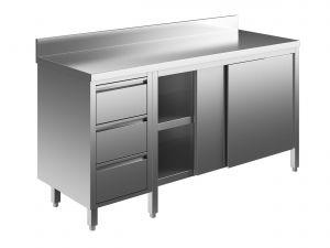 EU04104-19 tavolo armadio ECO cm 190x70x85h  piano alzatina - porte scorr - cass 3c sx