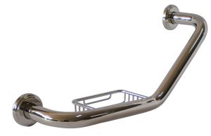 T105306 AISI 304 stainless steel Curved grab bar with soap holder