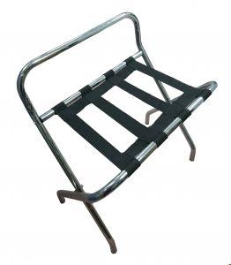 T107510 Luggage rack with back Chromed metal/nylon
