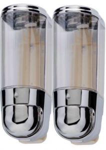 T110556 Mini distributore doppio di sapone liquido cromato 0,3+0,3 litri