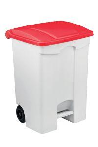 T115077 Mobile plastic pedal bin White 70 liters Red lid (multiple 3 pcs)