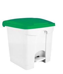 T115308 White Plastic pedal bin Green lid 30 liters (multiple 3 pcs)