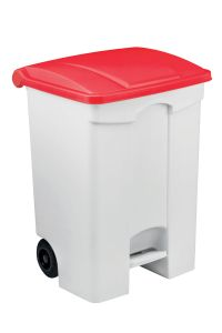 T115577 Mobile plastic pedal bin White 70 liters Red lid