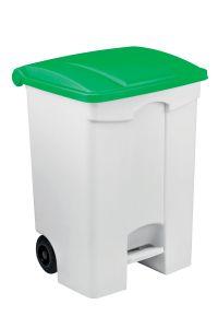 T115578 Mobile plastic pedal bin White 70 liters Green lid