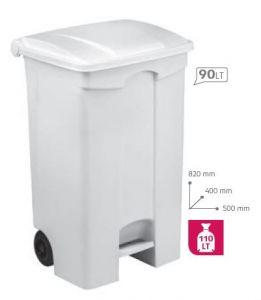 T115590 Mobile plastic pedal bin White 90 liters