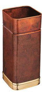T700107 Square copper umbrella stand with brass rims