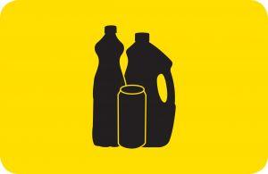 T701071 Sticker for recycling bins Plastic recycling horizontal sticker 200x130 mm (multiple 5 pcs)