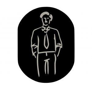 T719911 Man pictogram bathroom Black aluminium