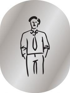 T719951 Brushed aluminium pictogram Man bathroom
