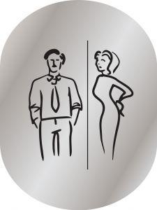 T719956 Man & woman pictogram bathroom Brushed aluminium