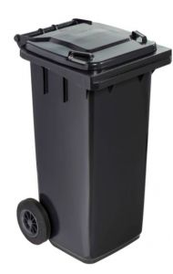 T766610 Grey Plastic waste container for outdoor on 2 wheels 120 liters