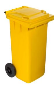T766611 Yellow Plastic waste container for outdoor on 2 wheels 120 liters