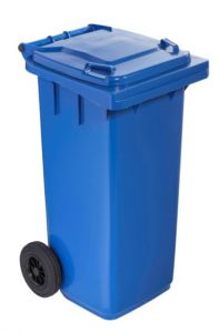 T766612 Blue Plastic waste container for outdoor on 2 wheels 120 liters